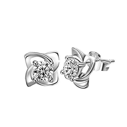 Back Earrings Screw Design (Yonger Silver Studs Alloy Earrings Stainless Steel Silver Spiral Flower Crystal Studs for Girl Women)
