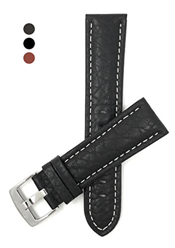 (22mm Black Classic Genuine Leather Buffalo Pattern Watch Strap Band, with White Stitching, New!)