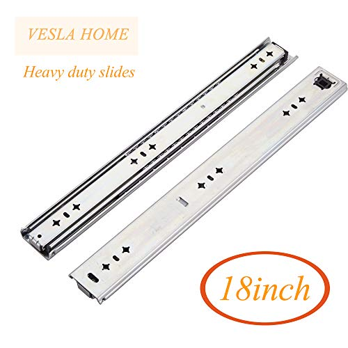 VESLA HOME Soft Close Hardware Ball Bearing Side Mount Full Extension Drawer Slides, Slides,Heavy Duty Slides, 18inch, 250 lb (Extension Slides Ball Bearing Full)