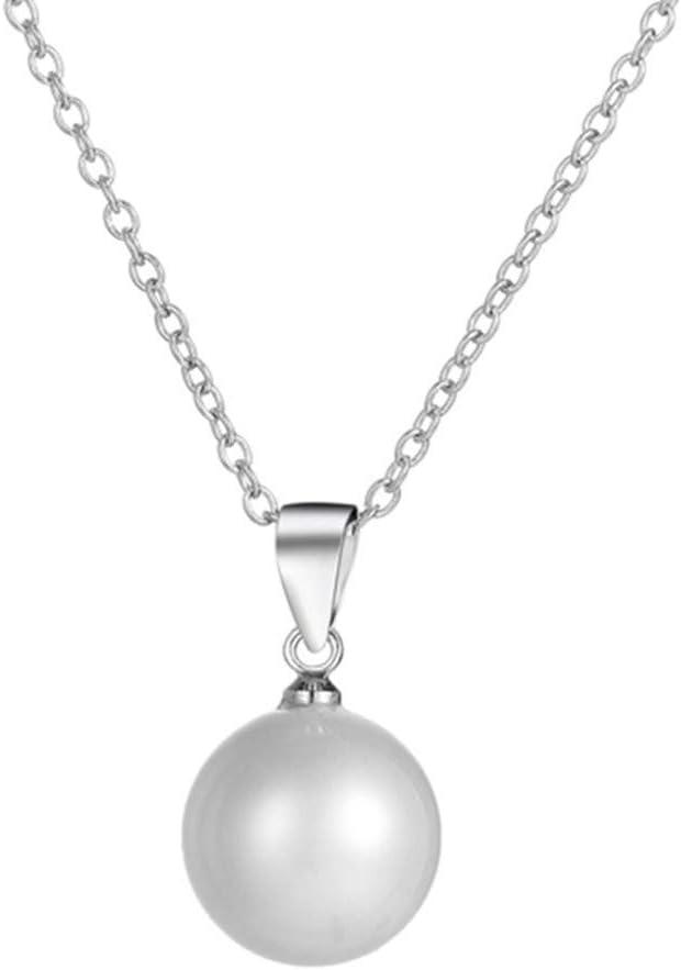 S925 Collar con colgante de perla cultivada de agua dulce para mujer, en plata esterlina