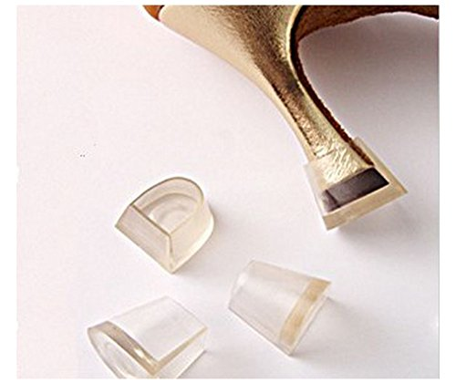Clear-Glass High Heel Protectors & Heel Repair Replacement Caps [7 Pair 7 Sizes Assortment Pack, Fits Most Shoes & Stiletto Tips] - Anti-Slip Hunks - Replacement Glasses Boots