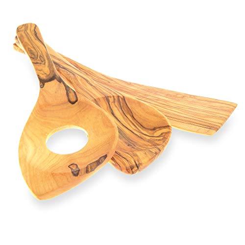Olivenholz Kochlöffel – 3er Set – 2 x Kochlöffel Holz + Pfannenwender – das hochwertige Küchenhelfer-Set aus Olivenholz…