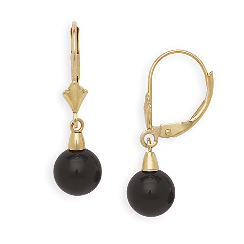 - Jewelryweb Solid 14k Yellow or White Gold Natural Black Onyx Gemstone Lever-Back Dangling Drop Earrings (yellow-gold)