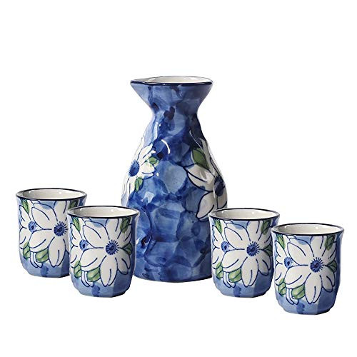 - KBNI Ceramic Sake Set Hand Painting Jasmine Flower Traditional Blue and White Porcelain include 1PC Sake Bottle 7.6oz and 4PC Sake Cups 1.7oz