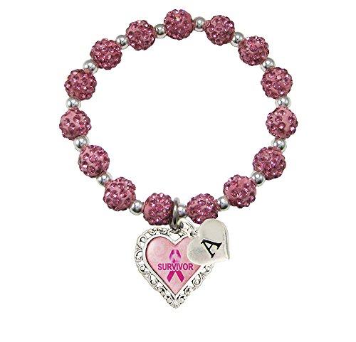Custom Breast Cancer Awareness Survivor Stretch Jeweled Pink Bracelet Choose Initial