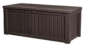 Keter Rockwood Plastic Deck Storage Container Box Outdoor Patio Garden Furniture 150 Gal, Brown, sNxbkW 2 Pack(Espresso Brown)