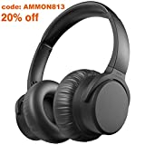 AMMON Active Noise Cancelling Headphones Wireless Bluetooth Headphones 30Hrs Playtime Over Ear with Mic HiFi Stereo Deep Bass Comfortable Protein Ear pads for Travel Work Gaming PC TV Cellphone