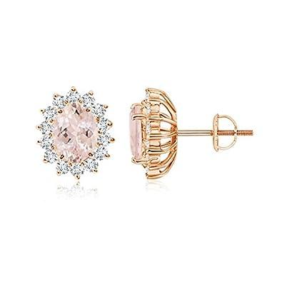 Angara Oval Morganite Flower Stud Earrings with Diamond Halo gRp1r