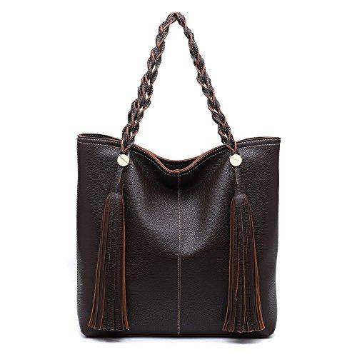 Brown Leather Fringe - Shomico Women Tote Shoulder Bag Purse Ladies Handbag Large Fashion Top Handle Hobo Trendy Stylish Tassel Soft Lightweight Vegan Leather Dark Brown (Coffee)