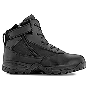 "Maelstrom Men's PATROL 6"" Black Waterproof Boots with Zipper for Work, Law Enforcement, Tactical, Security and Military 