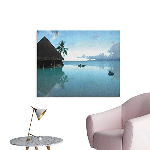 Anzhutwelve Landscape Wallpaper Rock Pool Part of The Sea Mystical Serene Nature with Old Wooden House Scenery Poster Print Blue Brown W36 xL32