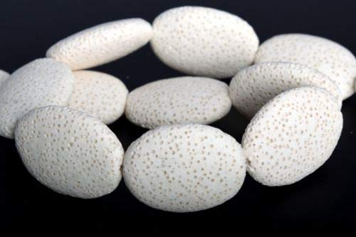 26x19mm White Volcanic Lava Flat Oval Grade Natural Loose Beads 7.5'' Crafting Key Chain Bracelet Necklace Jewelry Accessories Pendants