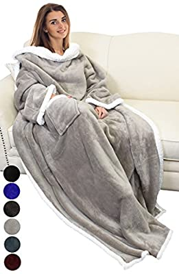 "Catalonia Sherpa Fleece Wearable Blanket with Sleeves and Pocket, Micro Plush Warm Comfort Sleeved TV Throws Blanket Robe for Adult Women and Men Large 72""X55"