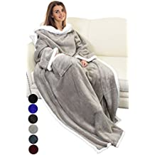 """Catalonia Sherpa Fleece Wearable Blanket with Sleeves and Pocket, Micro Plush Warm Sleeved TV Throws Blanket Robe for Adult Women and Men Large 72""""X55"""" By"""