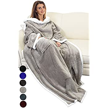 catalonia sherpa fleece wearable blanket with sleeves and pocket micro plush warm. Black Bedroom Furniture Sets. Home Design Ideas