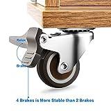"""4 Pack 1"""" Caster Wheels Swivel Plate w/Break"""