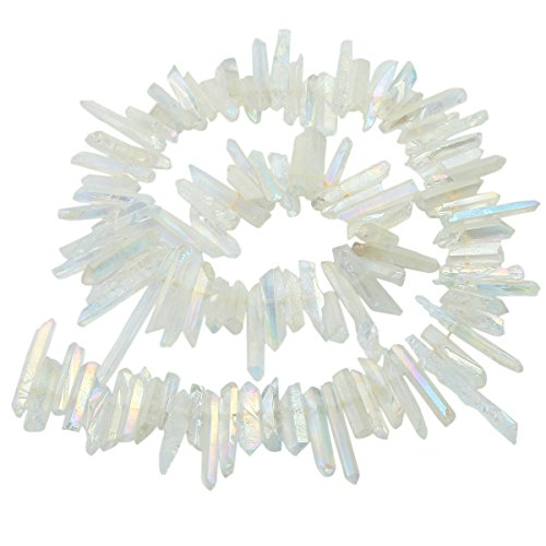 SUNYIK Angel Aura Quartz Titanium Coated Crystal Points Quartz Rough Sticks Spikes Point Beads 15 inch Strand Drilled (Crystal Quartz Pendant Point)