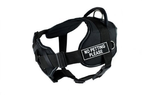 Dean & Tyler Black with Reflective Trim Fun Dog Harness with Padded Chest Piece, No Petting Please, Small, Fits Girth Size 22-Inch to 27-Inch