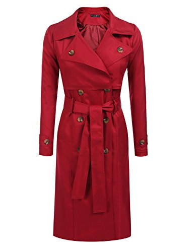 SE MIU Women's Classic Double Breasted Trench Coat Pea Coat Wine Red M