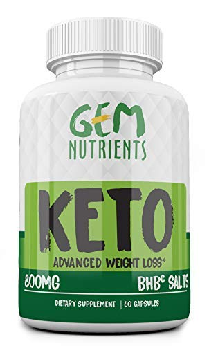 Gem Nutrients Keto Diet Advanced Weight Loss Ketosis Supplement - 800mg All-Natural BHBc Salts Ketogenic Fat Burner Capsules - GMP-Sealed, Non-GMO Product - Ideal Weight Loss Support Keto Pills