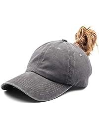 548eddee9d10c Ponytail Unconstructed Washed Dad Hat Messy High Bun Ponycaps Plain  Baseball Cap