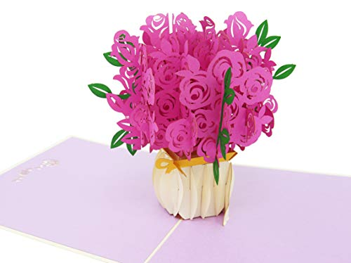 (PopLife Pink Rose Bouquet 3D Pop Up Mothers Day Card - Anniversary Pop Up Valentines Day, Happy Birthday, I'm Sorry - Gift for Her - Folds Flat for Mailing - for Mom Mother, for Daughter, for Wife)