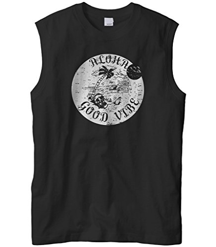 Cybertela Men's Aloha Good Vibe Paradise Island Sleeveless T-Shirt (Black, 2X-Large) (Kamehameha Aloha Shirts)