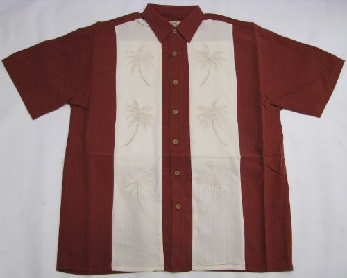 (Men's Double Palm Panel Embroidered Polynosic Rayon Polyester Shirt in Burgundy -)