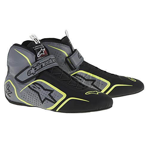 Racing Alpinestars Shoes - Alpinestars 2715115-1045-10.5 TECH 1-Z SHOES, ANTHRACITE/BLACK/YELLOW FLUO, SIZE 10.5, SFI 3.3 LEVEL