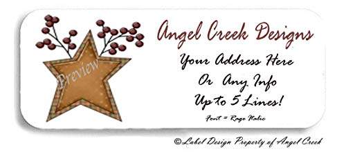 60 Rustic Country Primitive Star and Berries Personalized Return Address Labels ()