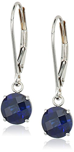 10k White Gold Round Checkerboard Cut Created Blue Sapphire Leverback Earrings (6mm) (Round Cut Natural Sapphire)