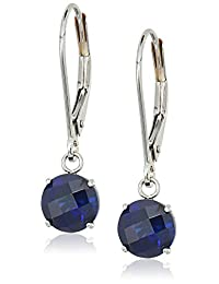 10k White Gold Round Checkerboard Cut Leverback Dangle Earrings