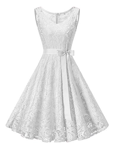 Neck Floral Lace Bridesmaid Dress Short Prom Party Gowns Sleeveless White S ()