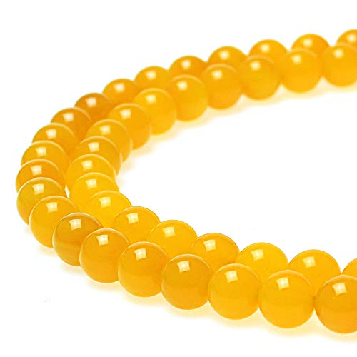 JarTc 7A Round Natural Yellow Agate Beads Stone Loose Beads for Necklace Bracelet Charms Jewelry Making 15 (12mm)