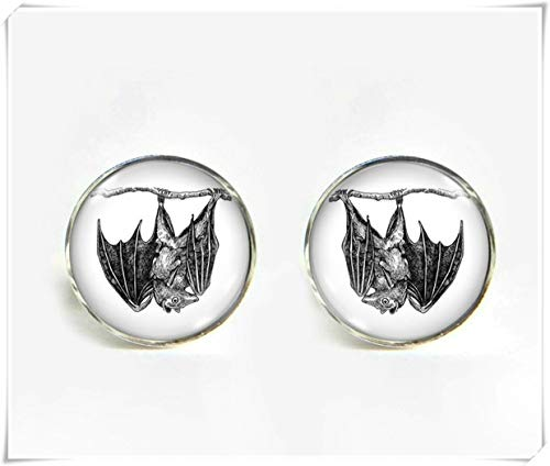 Goodnight cat Bat with Baby Small Post Stud Earrings,Dome Glass Ornaments, Pure Hand-Made