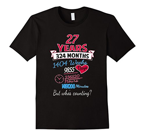 Men's 27th Wedding Anniversary Gift  27 Years but Who's Counting 2XL Black
