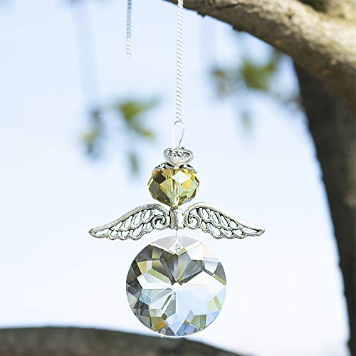 H&D Crystal Guardian Angel Suncatcher for Home/Car Decoration (Yellow) -