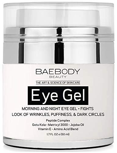 Baebody Eye Gel for Appearance of Dark Circles, Puffiness, Wrinkles and Bags - for Under and Around Eyes - 1.7 fl oz (50ml). (Best Wrinkle Treatment For Men)