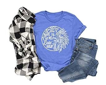 Anbech Women Darlin' Tee Country Summer Casual Short Sleeve Shirt Print Tees Tops - Blue - Small