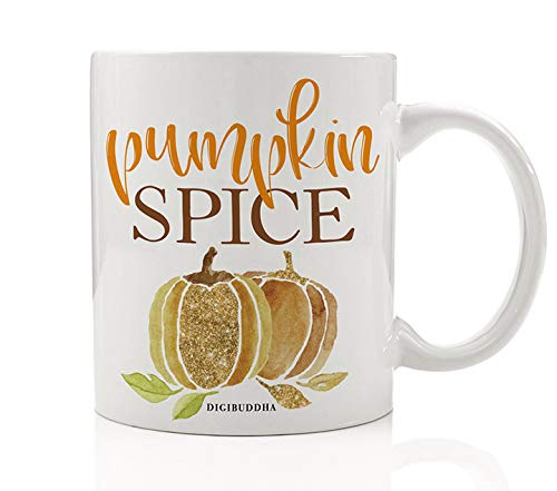 Pumpkin Spice Coffee Mug Gift Idea Orange & Gold Sparkling Seasonal Flavors Birthday Christmas All Occasion Present for Family Friend Coworker Home Office 11oz Ceramic Beverage Cup Digibuddha -