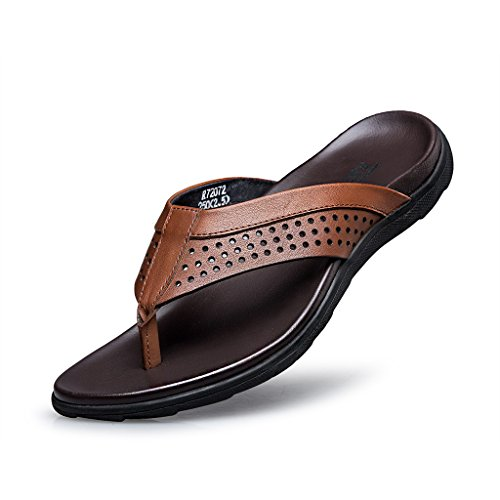 ZRO Men's Leather Summer Sandal Classical Comfortable II Flip-Flop BROWN US 9.5
