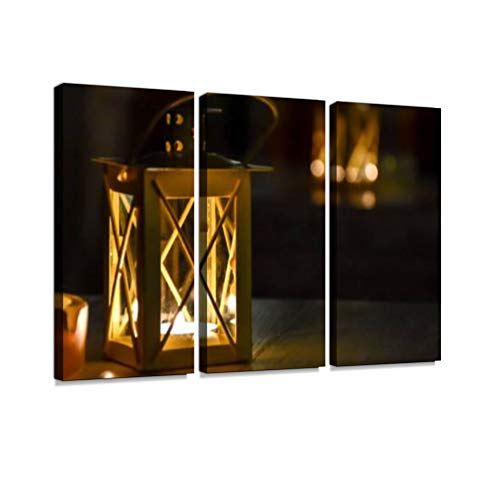 Candle Lanterns on Restaurant Tables Print On Canvas Wall Artwork Modern Photography Home Decor Unique Pattern Stretched and Framed 3 Piece