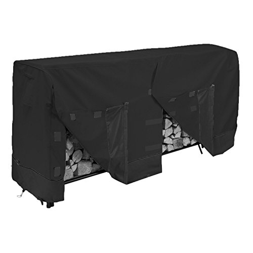 (Huntvp Heavy Duty Firewood Log Rack Cover 8 Feet Wood Pile Cover for Garden Outdoor,Black)