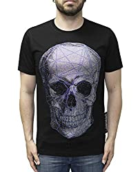 T-Shirt with Skull Print and Rhinestones