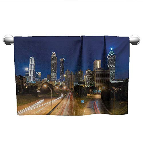 alisoso Urban,Tea Towel Image of Atlanta Skyline Twilight with Highway Buildings Skyscrapers Blurred Motion Pool Gym Towels Multicolor W 14