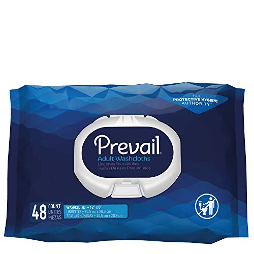 Prevail Single-Hand Dispensing Feature Large Washcloths, 48 Count (Pack of 12)
