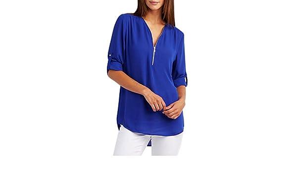 T Shirts - Blusa de manga larga para mujer, cuello en V, de gasa, para adolescentes, niñas y mujeres: Amazon.es: Hogar