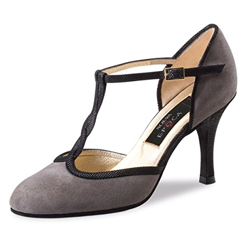 Nueva epoca–Donna Tango/Salsa Scarpe da ballo Josefina–Pelle scamosciata grigio–8cm