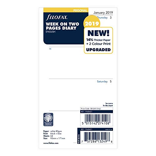 - Filofax 2019 Personal/Compact Week to View Refill, English, Jan 2019- Dec 2019, 6.75 x 3.75 inches (C68421-19)