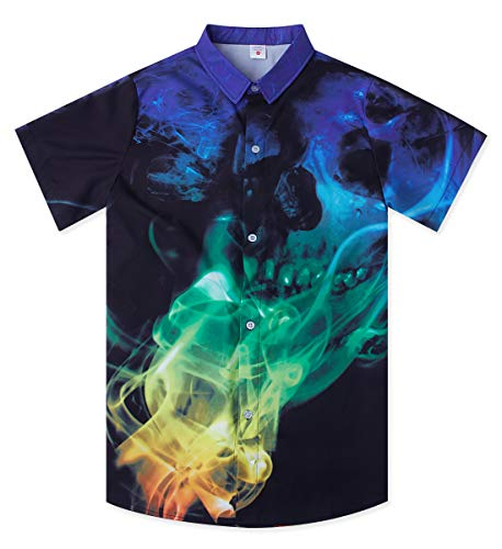 Uideazone Boy's 3D Printed Skull Hawaiian Shirt Casual Tropical Beach Holiday Aloha Short Sleeve Button Down Shirt ()